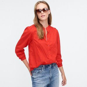 J.Crew Red Swiss Dot Button Up Blouse Size XS